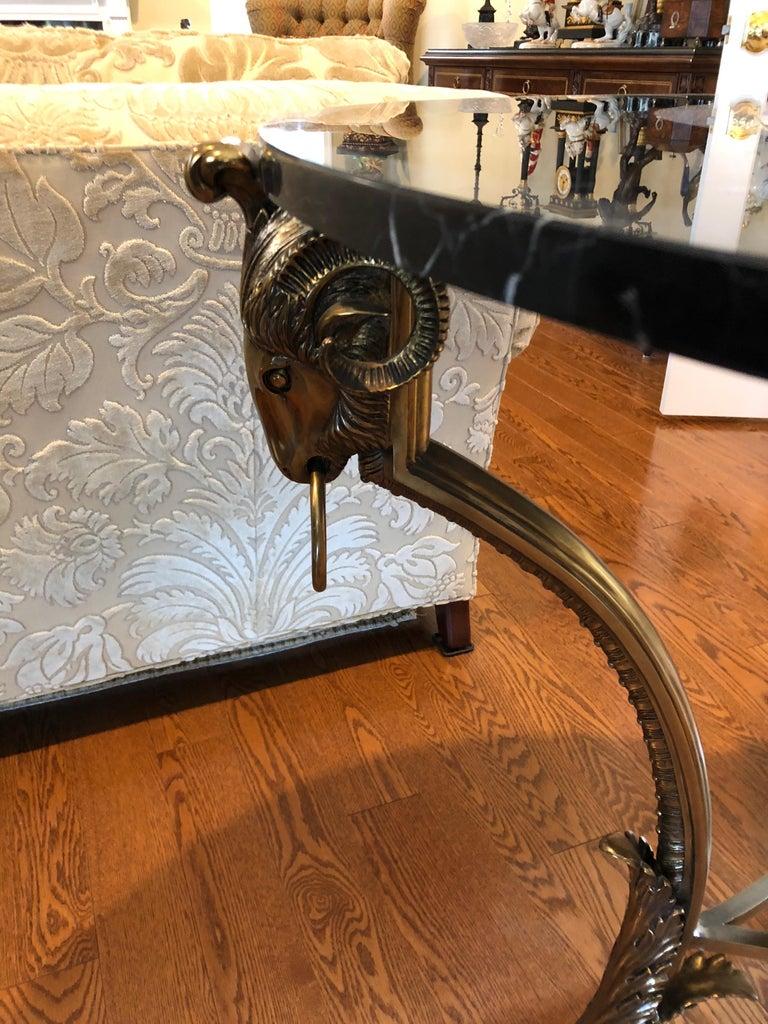 Glamorous Labarge Black Marble With Ram S Head Motif Brass