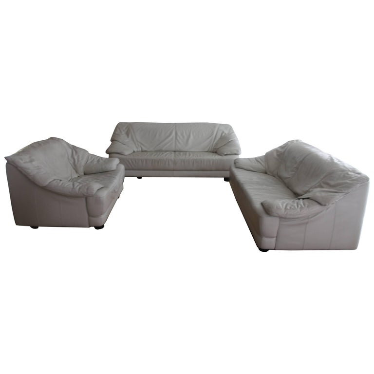 Lounge White Leather Living Room Set Mid-Century Modern, Italy, 1970s