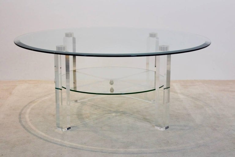 Belgian Glamorous Lucite, Brass and Glass Coffee Table, Belgium, 1970s For Sale