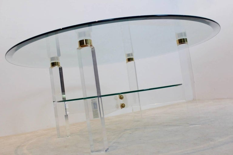 Glamorous Lucite, Brass and Glass Coffee Table, Belgium, 1970s In Excellent Condition For Sale In Voorburg, NL