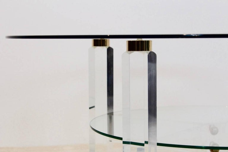 20th Century Glamorous Lucite, Brass and Glass Coffee Table, Belgium, 1970s For Sale