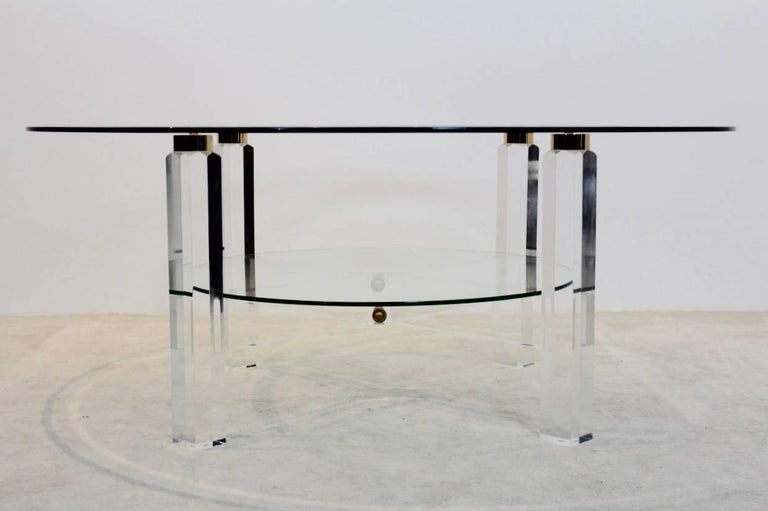 Glamorous Lucite, Brass and Glass Coffee Table, Belgium, 1970s For Sale 1