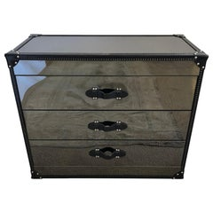 Glamorous Luxe Smoky Mirrored 3-Drawer Commode with Black Leather Trim