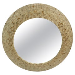 Glamorous Maitland Smith Mother of Pearl Mosaic Round Mirror