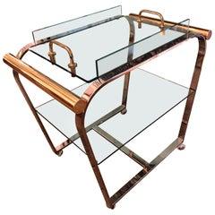 Glamorous Mid-Century Modern Brass Chrome and Glass Bar Cart