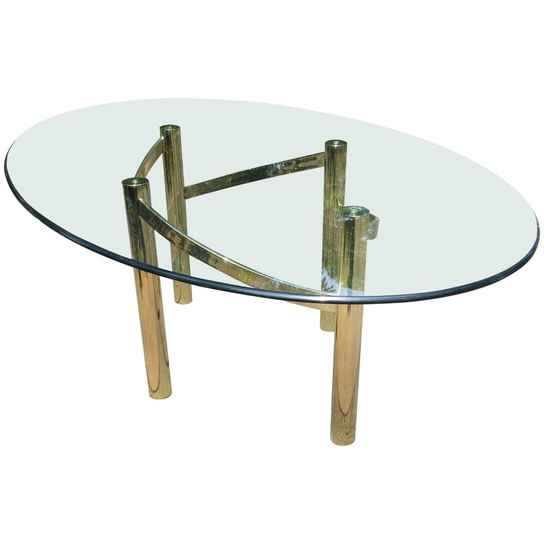 8a4f020ebd3 Glamorous Mid-Century Modern Brass Dining Table Base with Large Oval Glass  Top For Sale