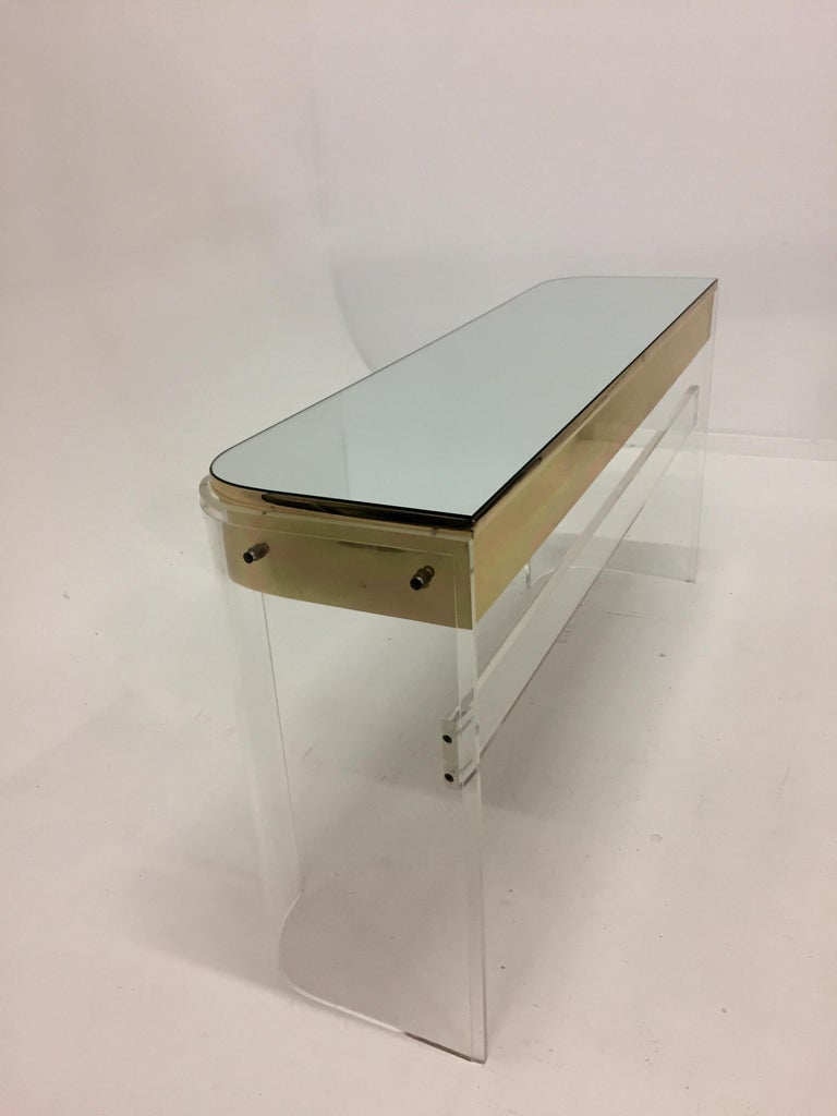 American Glamorous Mid-Century Modern Curved Lucite and Metal Vanity Console For Sale