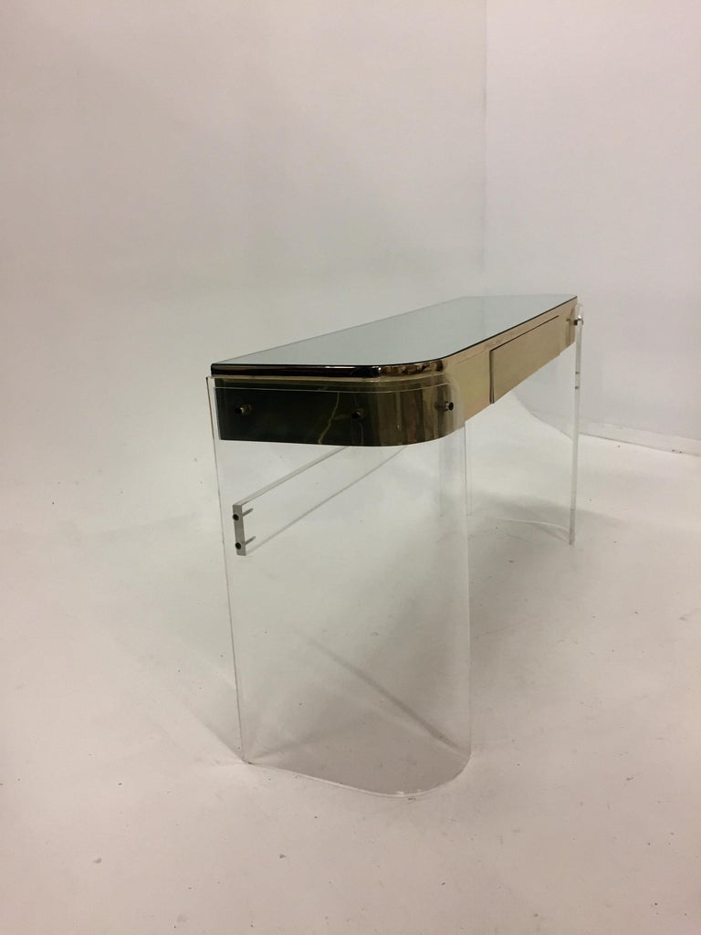 Mid-20th Century Glamorous Mid-Century Modern Curved Lucite and Metal Vanity Console For Sale