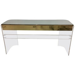 Glamorous Mid-Century Modern Curved Lucite and Metal Vanity Console