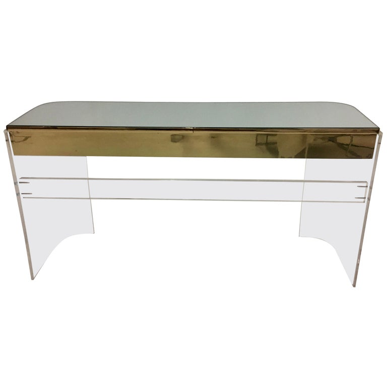 Glamorous Mid-Century Modern Curved Lucite and Metal Vanity Console For Sale