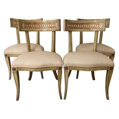 Glamorous Midcentury Set of 4 Klismos Dining Chairs