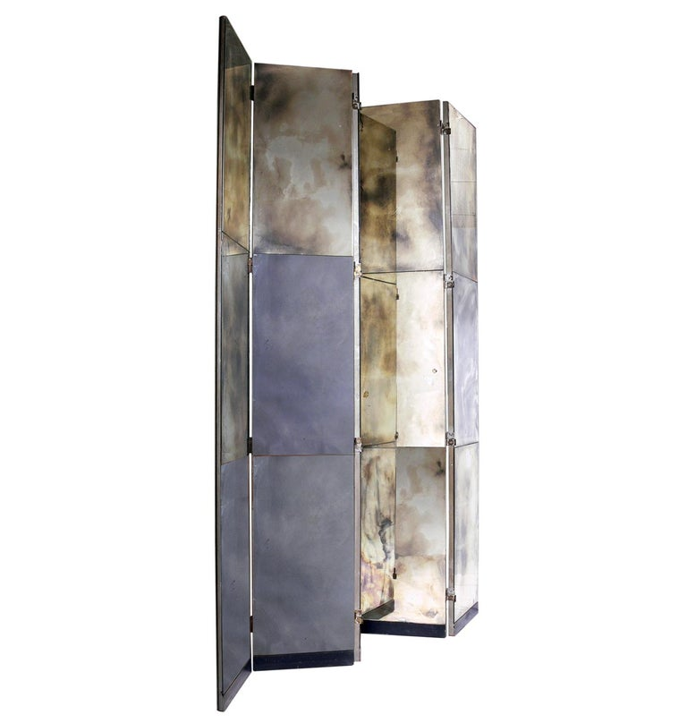 Glamorous Mirrored Screen or Room Divider, circa 1940s For Sale