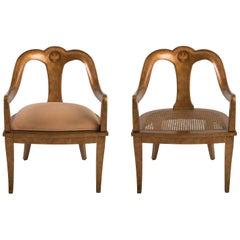Glamorous Pair of Antique Regency Spoon Back Armchairs