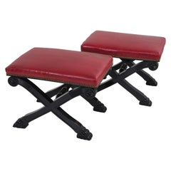 Glamorous Pair of Hollywood Regency Ebonized Benches with Red Leather Upholstery