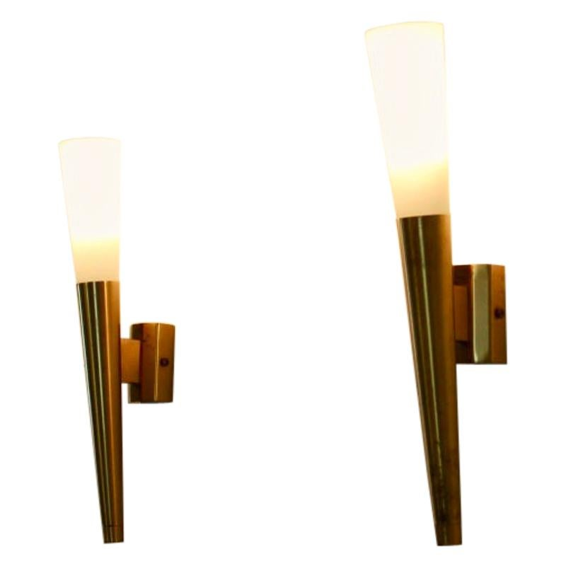 Glamorous Pair of Italian Brass and Opaline Glass Sconces, Italy, 1970s