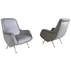 Glamorous Pair of Italian Midcentury Armchairs by Aldo Morbelli for Isa