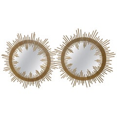 Glamorous Pair of Mid-Century Modern Italian Gilt Iron Sunburst Mirrors
