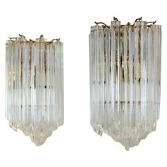 Glamorous Pair of Novaresi Brass and Murano Glass Sconces, Italy