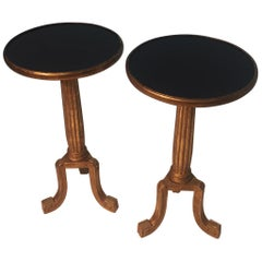 Glamorous Pair of Round Neoclassical Giltwood End Tables