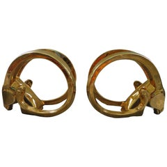 Glamorous Pair of Signed Jaru 18kt Gold Ram Sculptures Mid-Century Modern