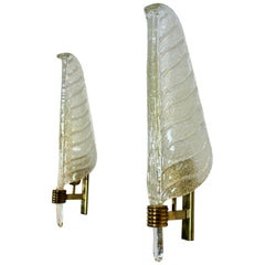 Glamorous Pair of Xl Murano 24kt Gold Flaked Glass Leaf Sconces, Barovier & Toso