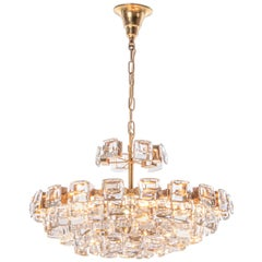 Glamorous Palwa Gilded Brass and Crystal Chandelier, 1960, Germany