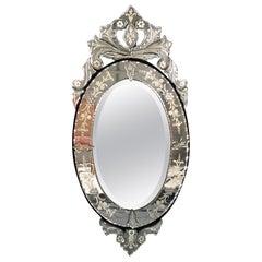 Glamorous Petite Oval Venetian Style Mirror