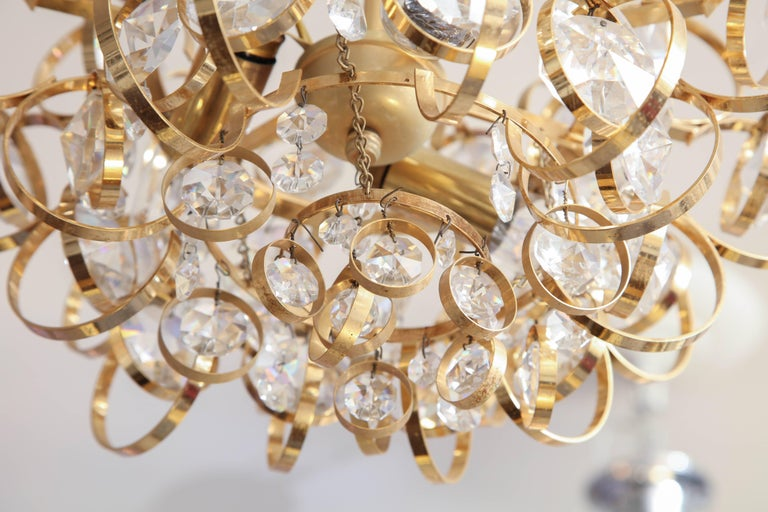 Glamorous Petite Vintage Palwa Chandelier In Excellent Condition For Sale In New York, NY