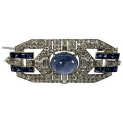 Glamorous Platinum Saphire and Diamond Art Deco Plaque Brooch