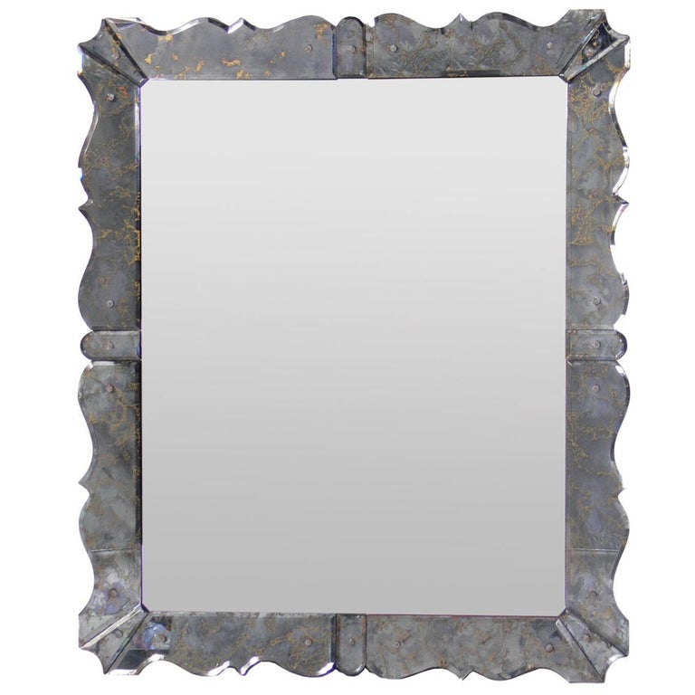 Glamorous Scalloped Mirror in the Manner of Serge Roche
