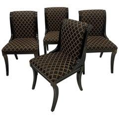Glamorous Set of 4 Hollywood Regency Ebonized & Gilt Decorated Dining Chairs