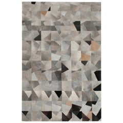 Art Deco Gray black and caramel Faceta Customizable Cowhide Area Floor Rug Small