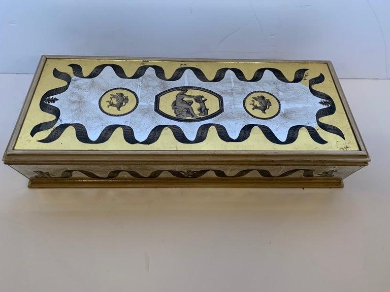 Glamorous Vintage Églomisé Mirrored Jewelry Box For Sale 8