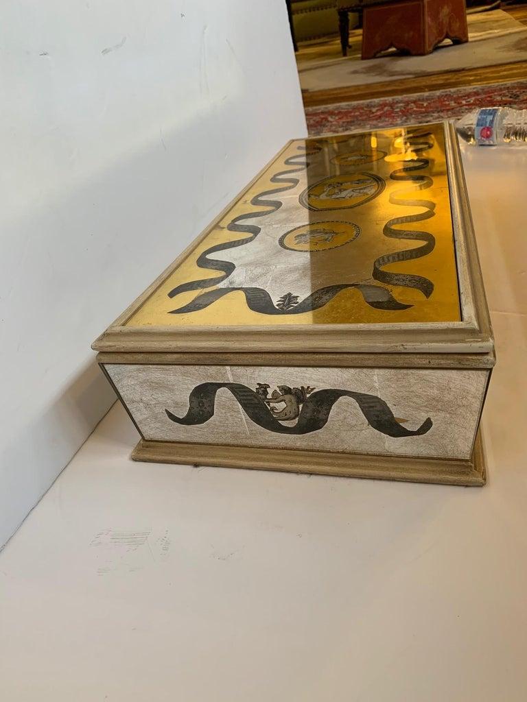 Glamorous Vintage Églomisé Mirrored Jewelry Box For Sale 1