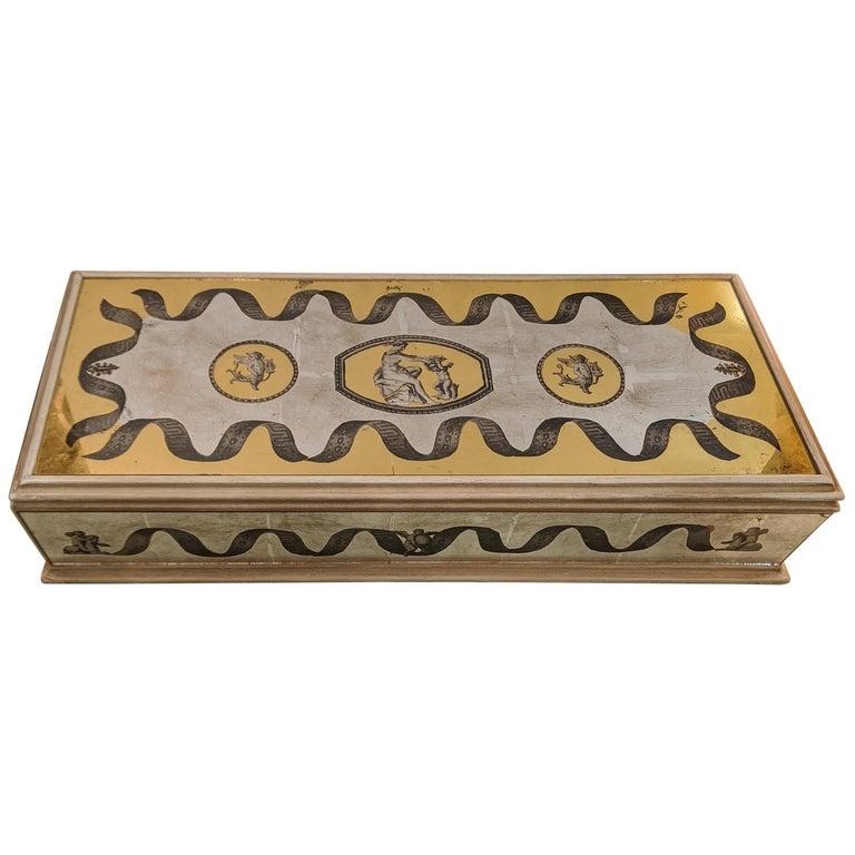 Glamorous Vintage Églomisé Mirrored Jewelry Box For Sale
