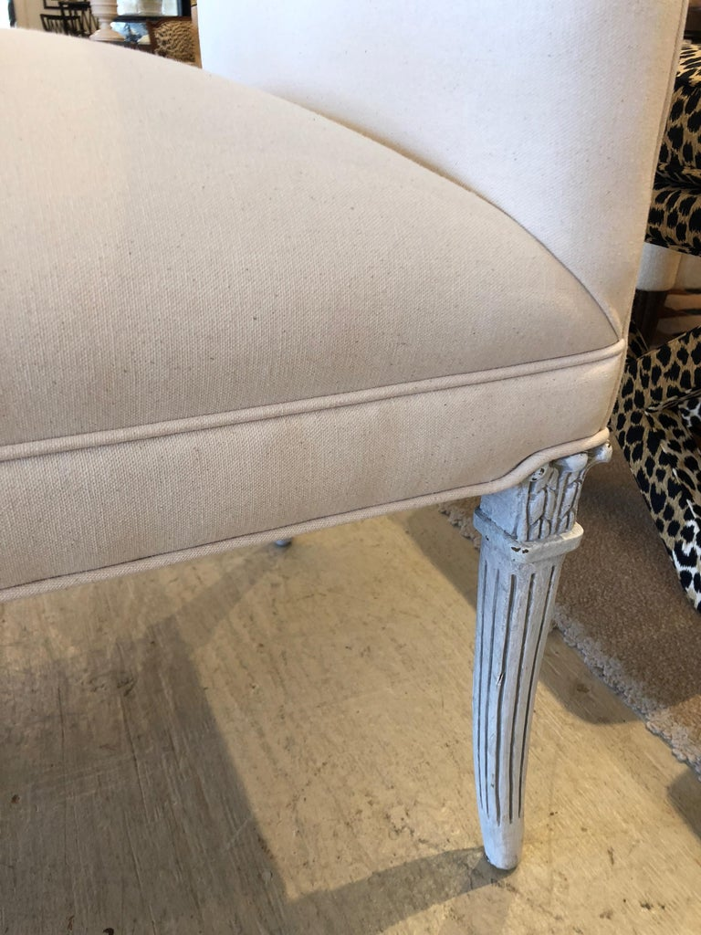 Painted Glamorous Vintage French Upholstered Window Bench For Sale