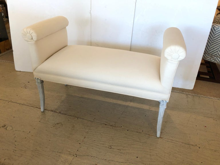 Wood Glamorous Vintage French Upholstered Window Bench For Sale