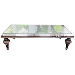 Glamorous Vintage Mirrored Coffeetable with Splendid Fancy Carved Wood Legs