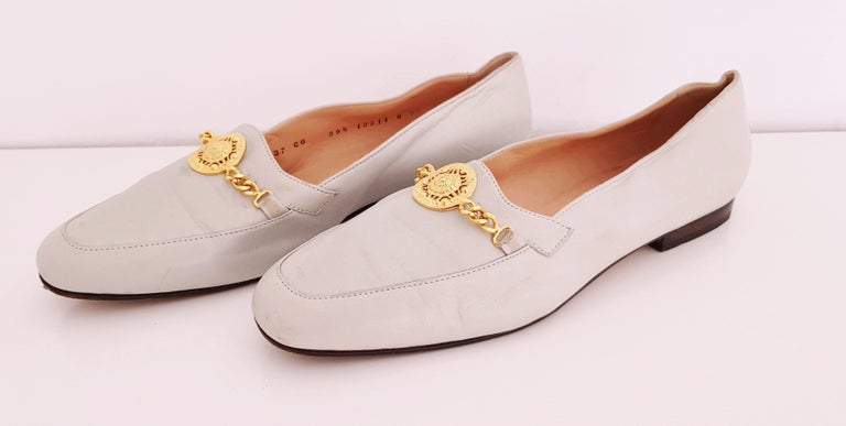 Glamour Boutique x Versace Leather Flat Ballerines with Golden Medallion For Sale 1