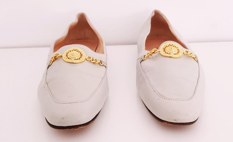 Glamour Boutique x Versace Leather Flat Ballerines with Golden Medallion For Sale 2