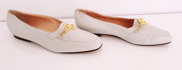 Glamour Boutique x Versace Leather Flat Ballerines with Golden Medallion For Sale 4