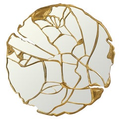 Glance Mirror with Gold Lacquer Finish