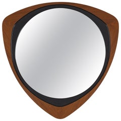 Glas & Trä, Rare Wall Mirror Rosewood Black-Painted Wood Hovmantorp Sweden 1950s