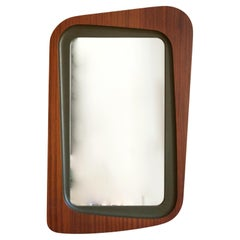 Glas & Trä, Rare Wall Mirror Rosewood Green-Painted Wood Hovmantorp Sweden 1950s