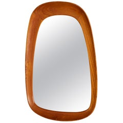 Glas & Trä, Sculptural Organic Wall Mirror, Teak, Crystal Glass, 1950s
