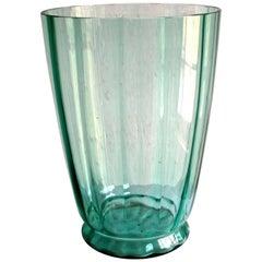 Glasfriek Leerdam A.D. Copier Large Green Glass Vase