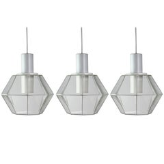 Glashütte Limburg Geometric Pendant Lights / Lamps White & Clear Glass 1970s
