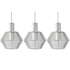 Glashütte Limburg Geometric Pendant Lights / Lamps White & Clear Glass 1970s