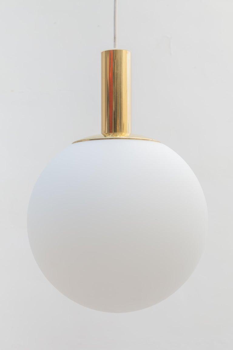 Mid-Century Modern Glashütte Limburg Brass Opaline Globe Pendants Set of Six, 1970s For Sale