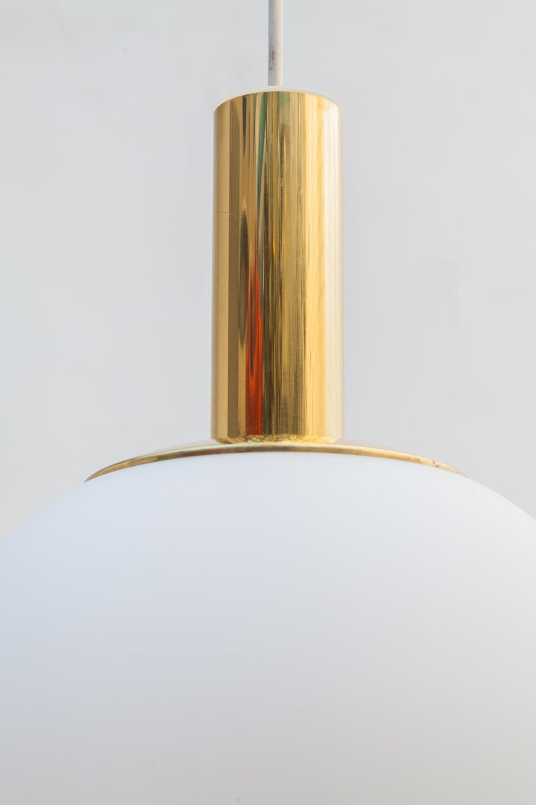 German Glashütte Limburg Brass Opaline Globe Pendants Set of Six, 1970s For Sale